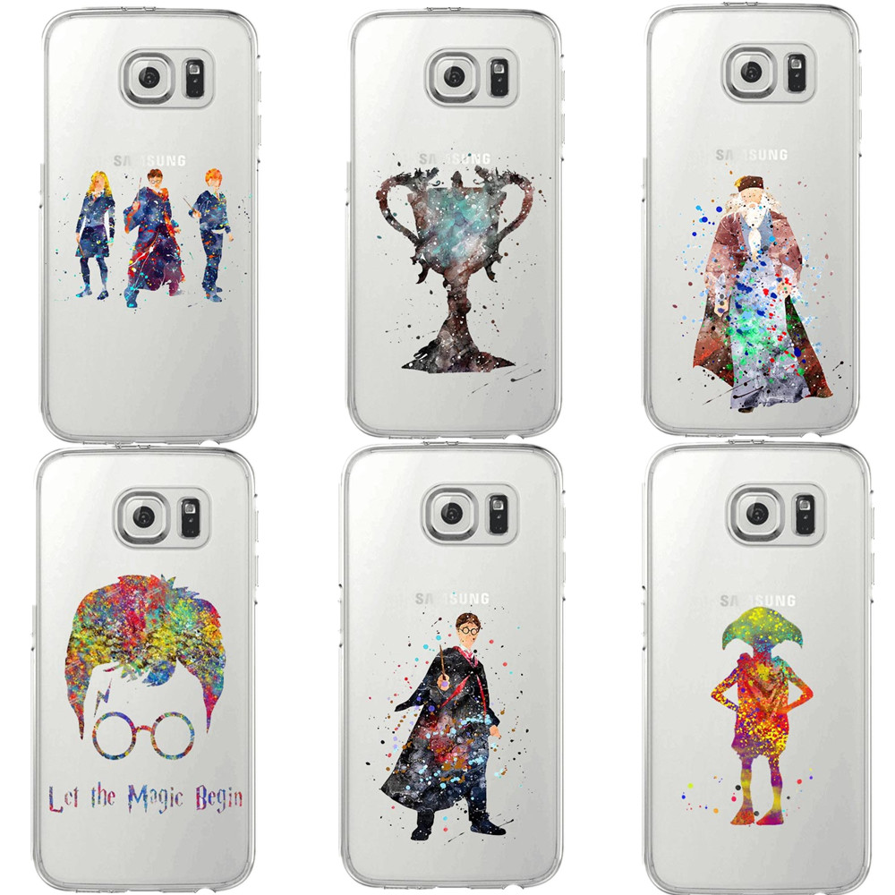 Harry Potter Magic birds Watercolor Art Soft Clear TPU Phone For Samsung Galaxy S5 S6 Edge S7 edge