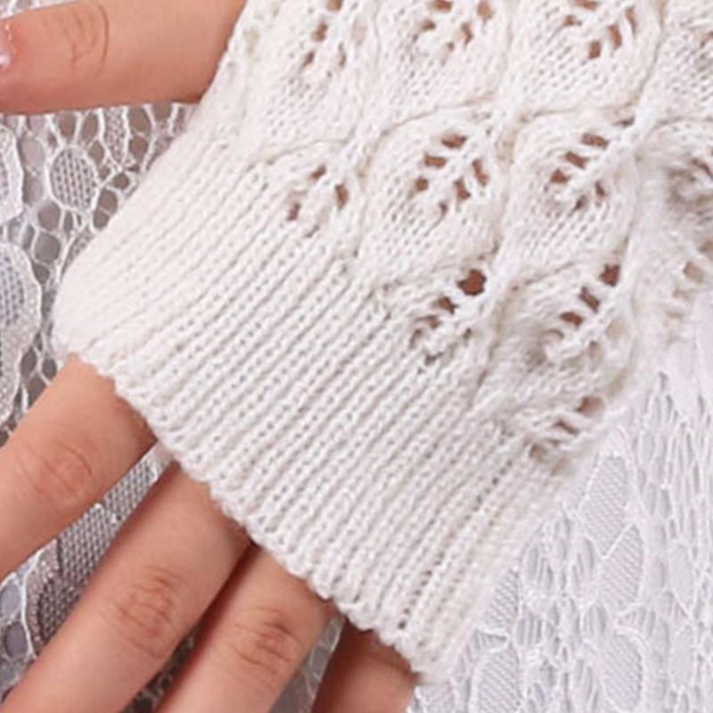 Moda de las señoras sin dedos Guantes invierno cálido suave tejido ...