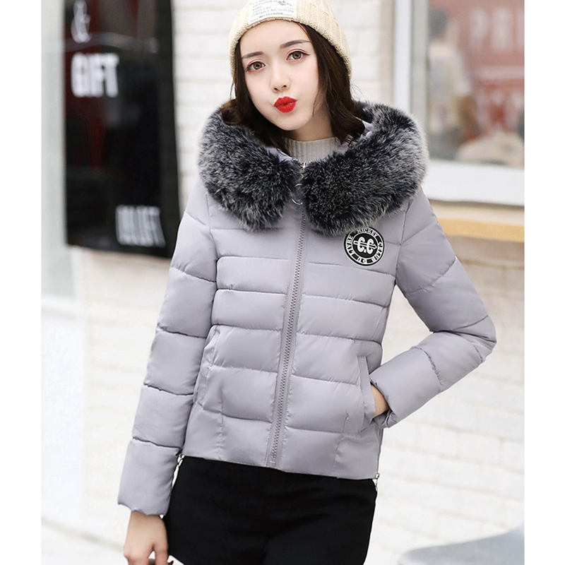 2017 NEW HOT SALE WOMEN WINTER JACKER SHORT LARGE FUR COLLAR HOODED WARM FEMALE PARKAS COTTON WADDED COAT HIGH QUALITY ZL460