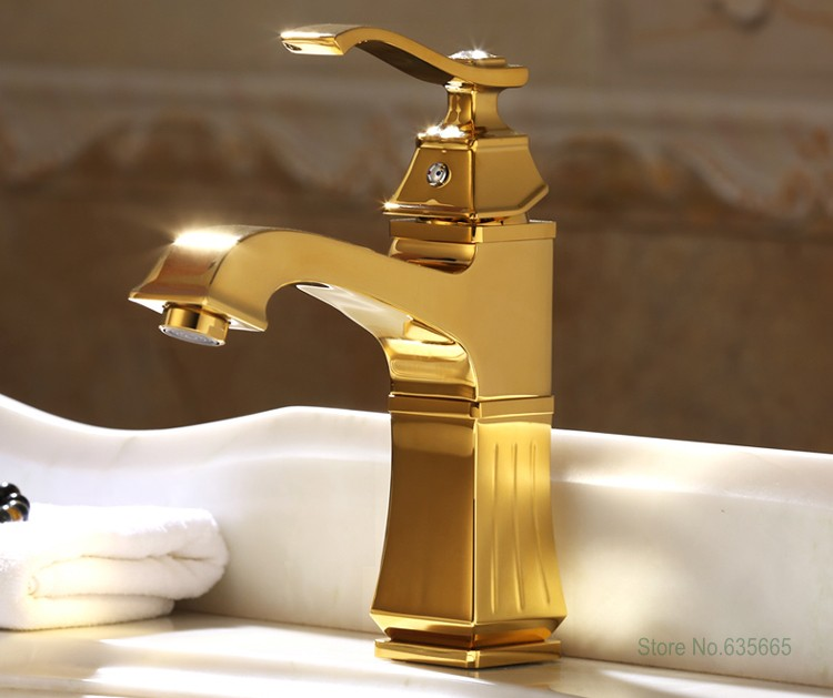 Luxury Gold Deck Mounted Bathroom Lavatory Basin Vessel Sink Mixer Tap Hot And Cold Water Faucet