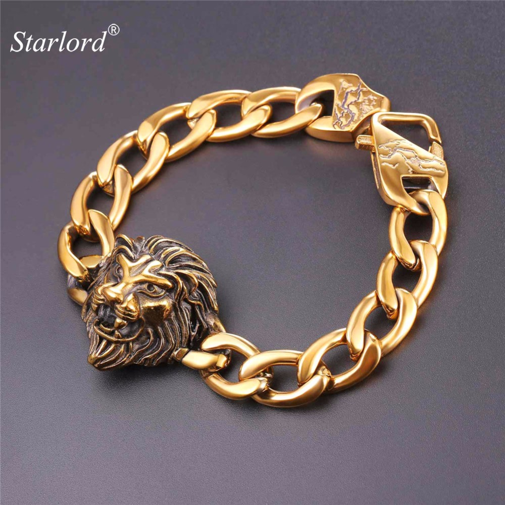 Starlord Lion Head Men Bracelet Stainless Steel/Gold Color 20/23CM Hip Hop Lion Jewelry Solid Cuban Link Bracelet For Men GH2554 delicate lion head shape ring for men