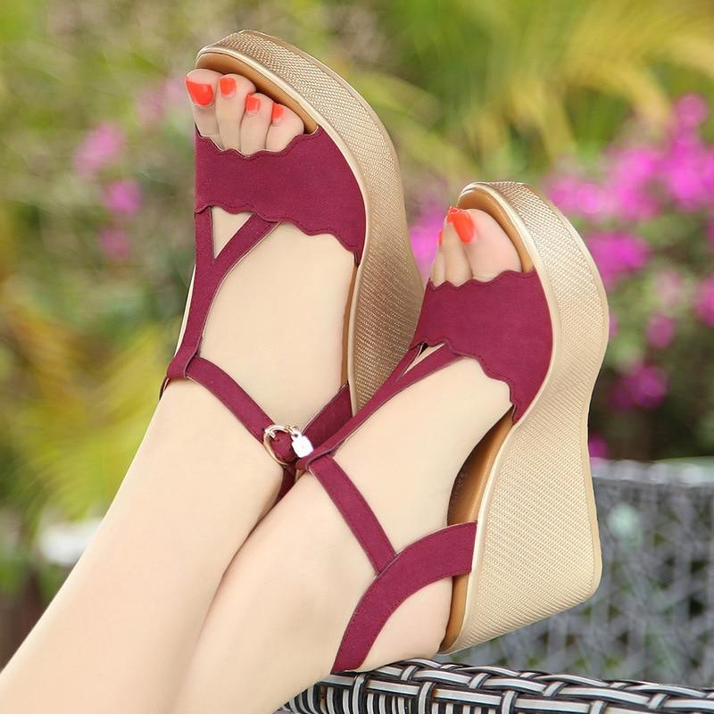 Big Size 33-43 Summer Platform Sandals Women 2021 Wedges High Heels Gladiator Sandals Black Red Green
