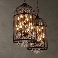American Country Vintage Pendant Light For Living Room Bedroom Restaurant Birdcage Crystal Lamp Villa Staircase K9