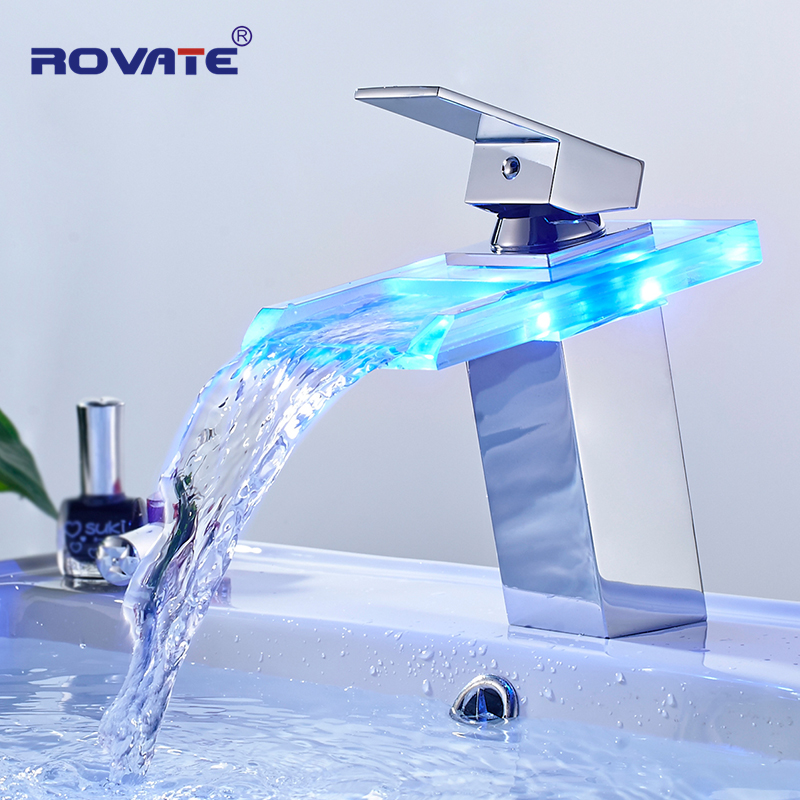 ROVATE LED Basin Faucet Brass Waterfall Temperature Colors Change Bathroom Mixer Tap Deck Mounted Wash Sink