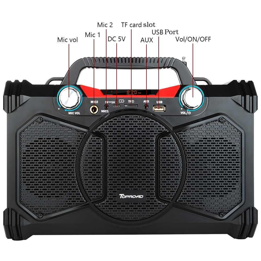 Toproad 30 W Bluetooth Speaker Portable Nirkabel Subwoofer Berat Bass Speaker Kotak Suara Mendukung Remote Control FM MIC TF AUX USB