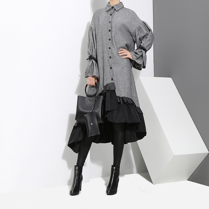 Women Plus Size Gray Shirt Dress Women Women's Clothings Women's Dresses