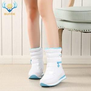Image 3 - Kışlık botlar kadın sıcak kar botu ayakkabı % 30% doğal yün ayakkabı beyaz renk BUFFIE 2020 büyük boy fermuar orta buzağı ücretsiz kargo