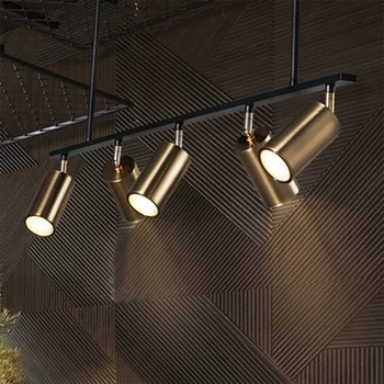Iron Pipe Lights | Gold Plated Lampshade LED Spotlight Pendant Lamp Modern Design Hanging Spot For Dinning Room Gold Metal Suspension Luminaire