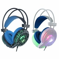 New H6 Internet Bar Professional Headset Cracked Pattern Luminous Video Game Headset Online Chatting Headphone With
