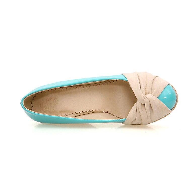 Estudiante Cuero Cuña Xingdeng Damas Punta blue Mujeres Plataforma Tamaño 39 Tacón De Bombas 34 Partido Oficina Beige Redonda Moda Zapatos CCz57Or