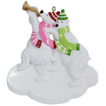 Personalized 2 Members of Polar Bear Family Gift Expertly Handwritten Ornament Christmas Gifts
