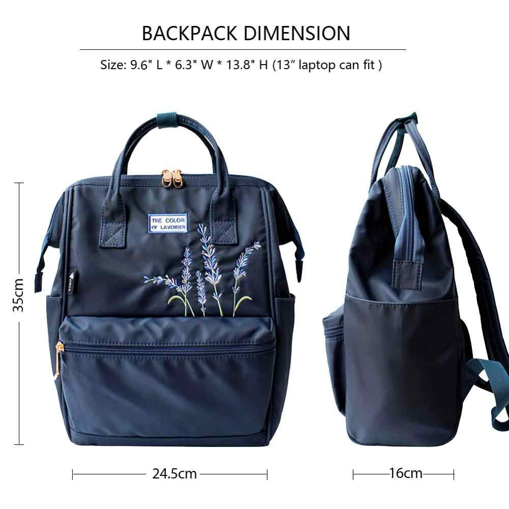 花の王女刺繍ナイロン女性のバックパック水レジストラップトップバッグカレッジスタイル旅行 bagpack ためパックデイパックスクールバッグバックパック
