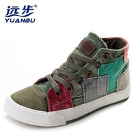 Hot Selling Lady High Canvas Shoes Summer Winter Casual Shoes Sneakers For Women Color Block Decoration
