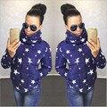 Escudo mujeres Moda Delgado Cuello Alto Dama Chaqueta Con Estampado De Estrellas Capa Corta Gruesa Caliente Traje de Invierno Femenina