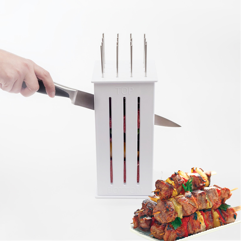 16 Holes Meat Skewer Kebab Maker Easy Barbecue BBQ Beef Meat Brochettes Skewer Machine Grill Tools Set With 32 Bamboo