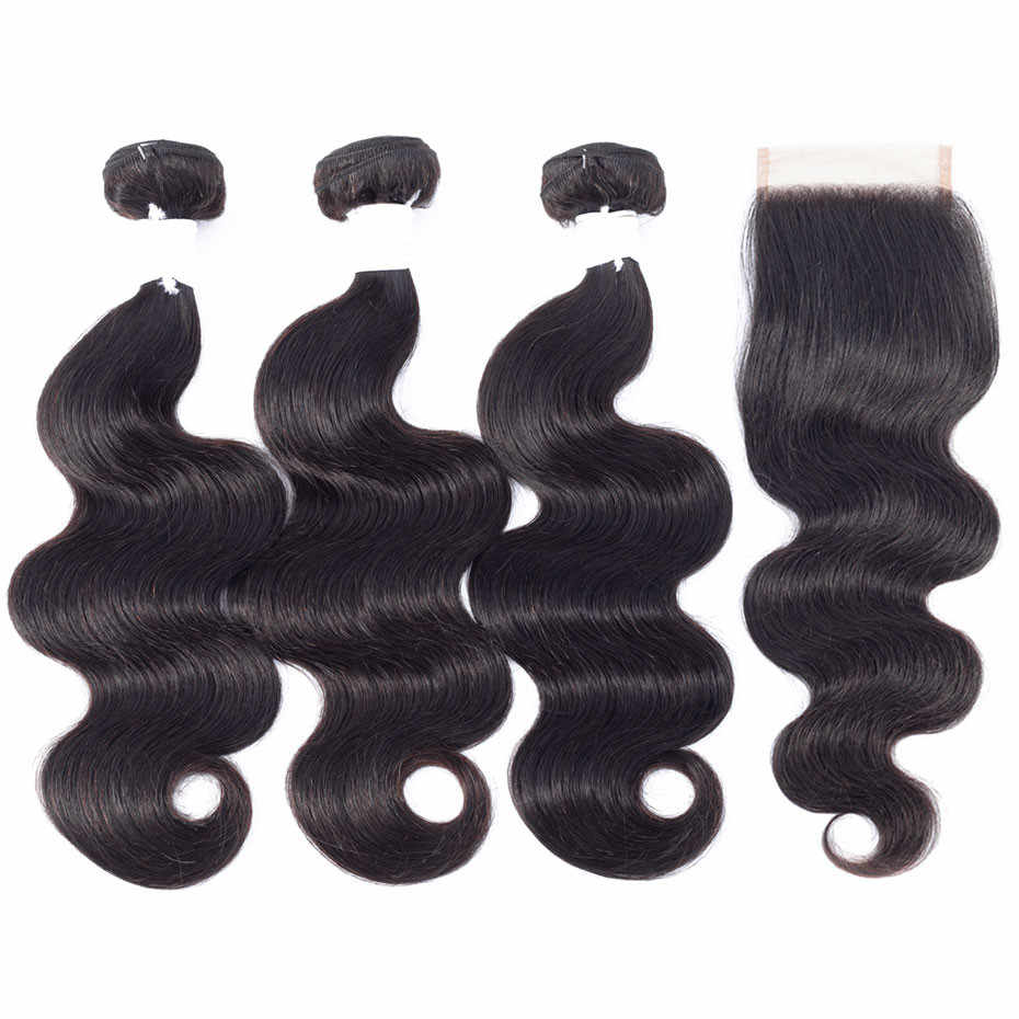 Brazilian Hair Body Wave 3 Bundles With Closure Human Hair Bundles With Closure Lace Closure Remy Human Hair Extension Free Ship