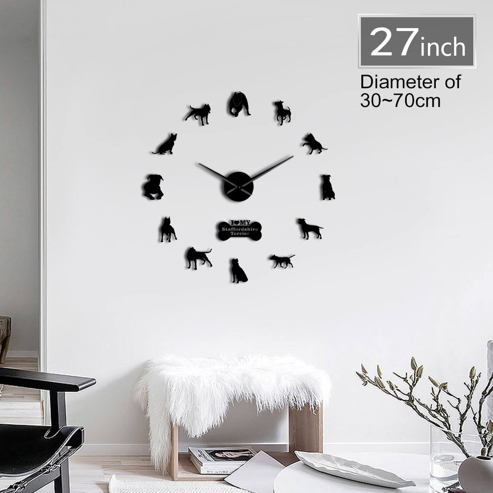 American Pit Bull Decorative 3D DIY Wall Clock American Staffordshire Terrier Fashion Home Clock With Mirror Numbers Stickers