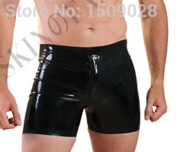 Free shippinp Latex rubber front zip boxer shorts for men
