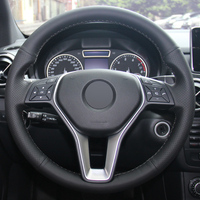 Black Leather Hand stitched Car Steering Wheel Cover for Mercedes Benz B180 2012