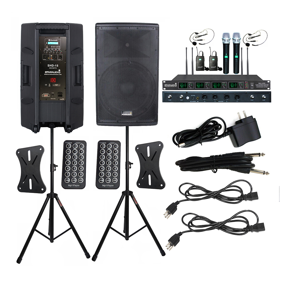 """STARAUDIO Pair 15"""" 4000W Powered DJ BT USB Speakers Active PA Party Speaker Stands 4CH UHF Wireless Handheld Headset Mic SHD 15 Portable Speakers     - title="""