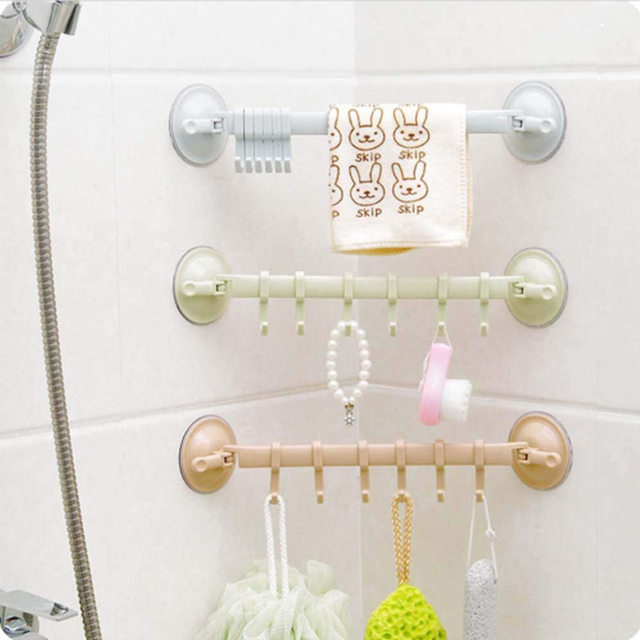 Adjustable Hook Rack With Double Suction Cup for Kitchen and Bathroom