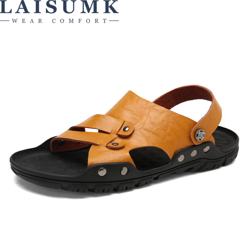 LAISUMK Summer Quality Genuine Leather Male Shoes For Men Sandals Adult Brand Casual Walking Comfortable Designer Sandal Man
