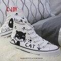 E-LOV кот & fishbone Картина Конструкции Ручной Росписью Холст Обувь Персонализированные Взрослых Повседневная Обувь Милые Туфли На Платформе