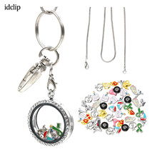 idclip Floating Locket Lanyard id badge holder Glass ID Badge Holder with 50pcs Charms