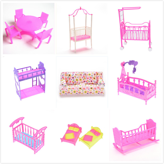 Fashion Plastic Bed Bedroom Furniture Dolls Dollhouse Girl Birthday Gift Double Bed Cradle Pillow For Barbie Dolls Accessories