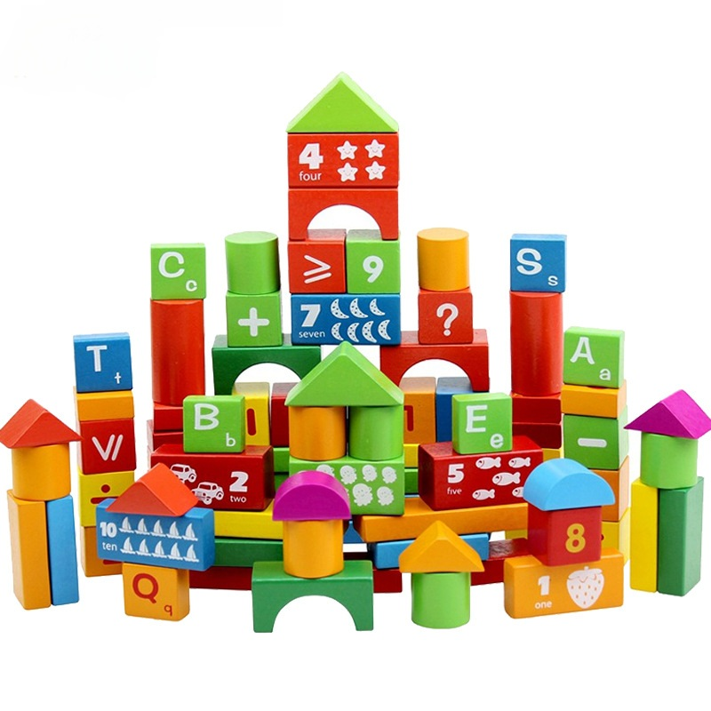 100pcs Montessori Educational Wooden Building Blocks Kids Toys for Children Wood Creature Blocks Early Learning Brinquedos W246 14 piece per set montessori baby educational wooden geometry shape wood building blocks teaching toys