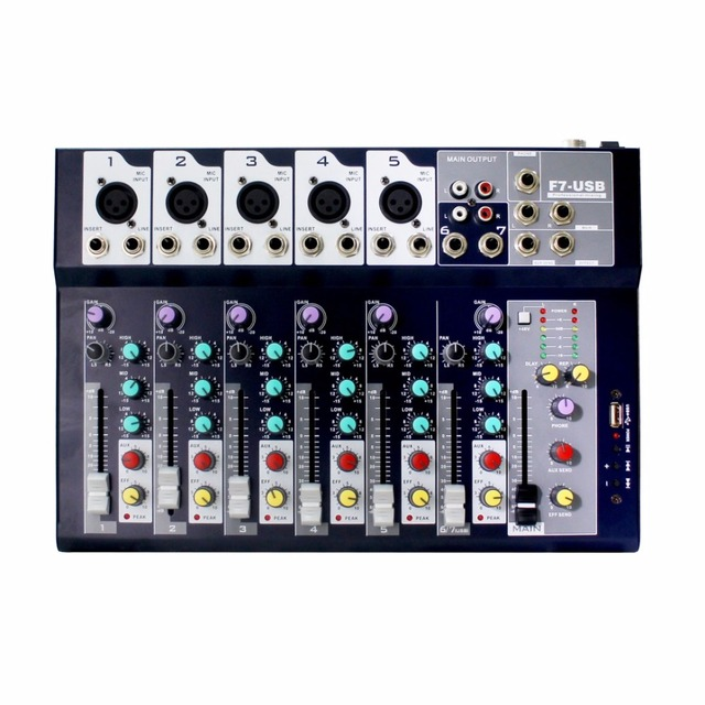 Music studio mixing console 7-channel Analog audio Mixer 7 mono 1 stereo with 3-band channel equalizer,USB,MP3 Audio Interface