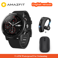 Оригинальный Xiaomi Huami Amazfit 2 Amazfit Stratos темп 2 Смарт часы с gps Xiaomi часы 5ATM Водонепроницаемый 1,34 2.5D экран