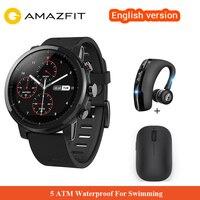 Оригинальный Xiaomi Huami Amazfit 2 Amazfit Stratos Pace 2 умные часы с gps Xiaomi часы 5ATM водостойкий 1,34 2.5D экран