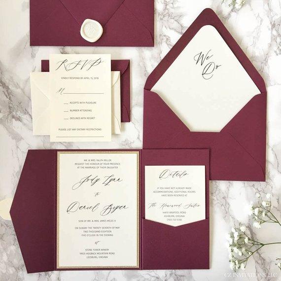 Burgundy Pocketfold Wedding Invitations
