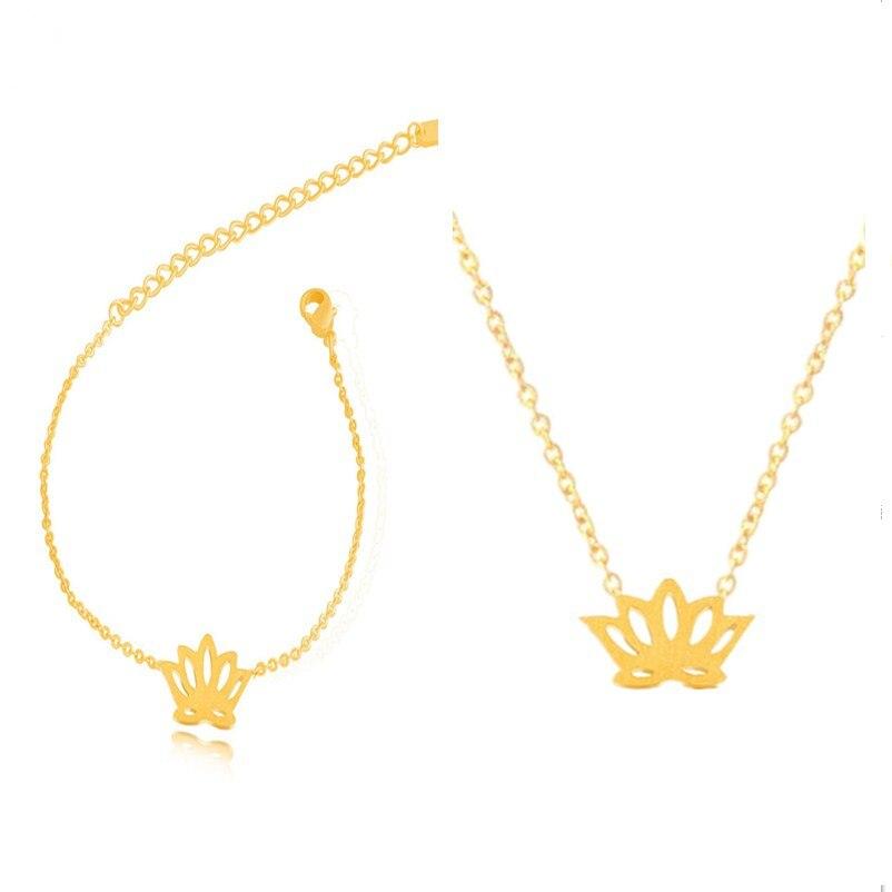 Yoga Lady Namaste Om Lotus Symbol Pendant Necklace /& Earrings Set