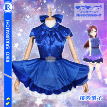 купить Anime Love Live Sunshine Aqours Sakurauchi Riko Night Party Wedding Dress Cosplay Costume  D дешево
