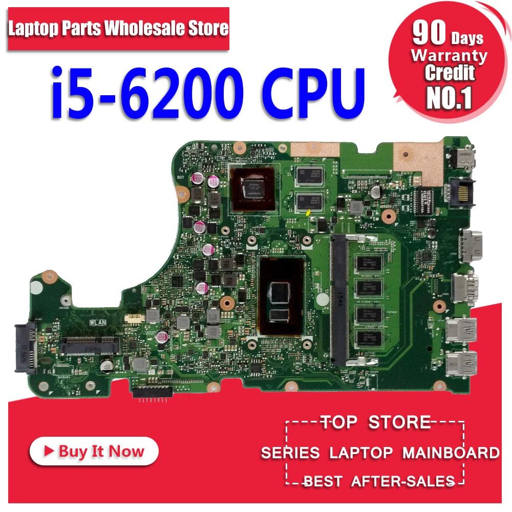 X555UJ Scheda Madre 4G di RAM I5-6200U Per ASUS X555UJ X555UF F555U X555UB X555UQ X555U Scheda Madre del computer portatile X555UJ Scheda Madre di prova ok