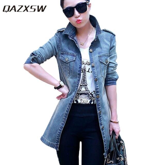 c3e8e94d5d3 QAZXSW New Arrival Women s Jean Jackets Korean Loose Casual Denim Jacket  Women Coat Long Sleeve Outerwear