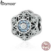 BAMOER High Quality Authentic 925 Sterling Silver Romantic Snowflake, Dazzling CZ Beads fit Charm Bracelet Bangle Jewelry SCC247