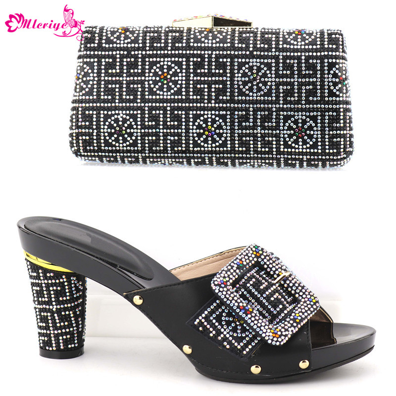 New Arrival Women Italian African Party Pumps Wedding Shoe and Bag Set Decorated with Rhinestone Women Shoe and Bag Set In Italy