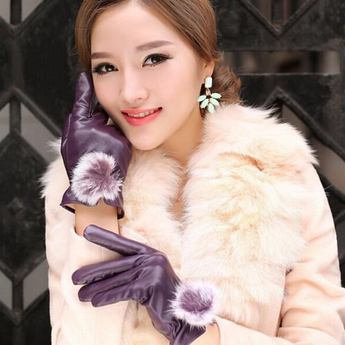 Womens leather gloves purple - 1pair Leather Gloves Winter Warm Women S Genuine Leather Gloves Rabbit Fur Ball China Mainland