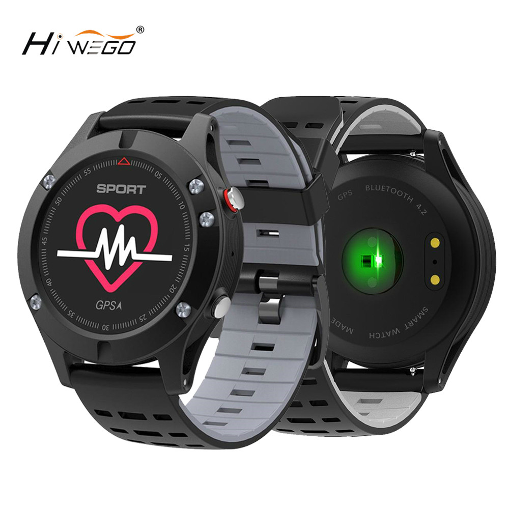Hiwego Men F5 GPS Smart Watch Altimeter Barometer Thermometer Bluetooth 4.2 Smartwatch Wearable Devices for IOS Android 2018 ogeda men f5 gps smart watch altimeter barometer thermometer bluetooth 4 2 smartwatch wearable devices for ios android 2018