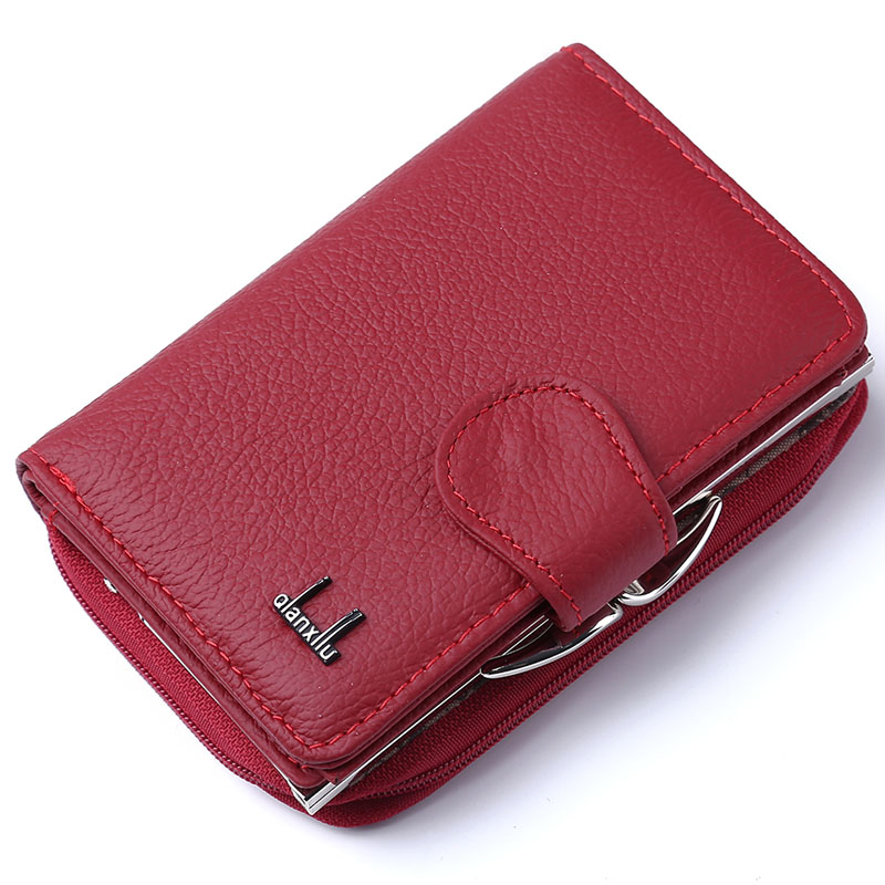 2017 Women Wallet Genuine Leather,High Quality Zipper and Hasp Coin Purse 100% Cowhide Female Purses 2016 brand design high quality women genuine leather vintage wallet cowhide coin purse oil waxing purses zipper pocket wallets