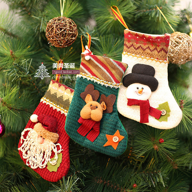 3pcs mini christmas stocking filler candy bag kids christmas gifts cheap christmas tree ornaments christmas decorations