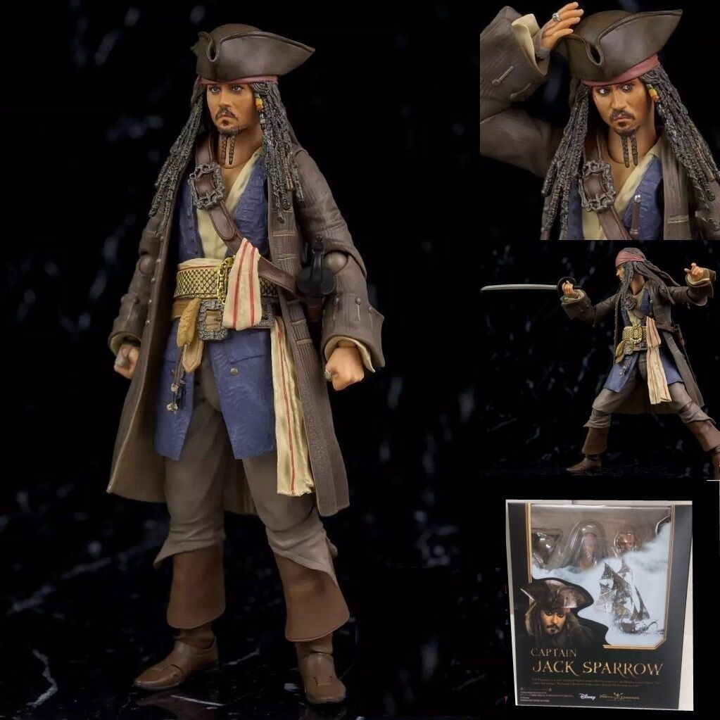 S.H.Figuarts Pirates of Caribbean Captain Jack Sparrow PVC Action Figure New Anime Figure Collectible Model Toy