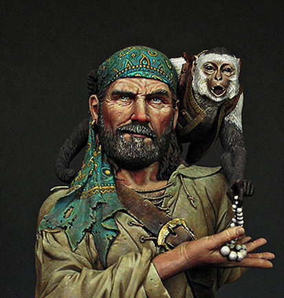 1/12 Rogue Pirate With Monkey Ancient Bust    Toy Resin Model Miniature Kit Unassembly Unpainted