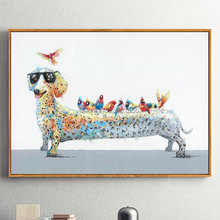 Hand Painted Modern Abstract Dachshund Oil Painting On Canvas Cool Cartoon Dog with Glasses Wall Art For Living Room Home Decor