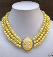 Free shipping >>>>>3Row Yellow Pearl Necklace Cameo Beauty Clasp