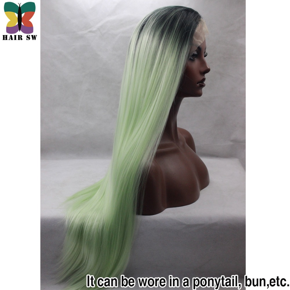 Hair Sw Long Straight Synthetic Lace Front Wigs Ombre Blonde Pink