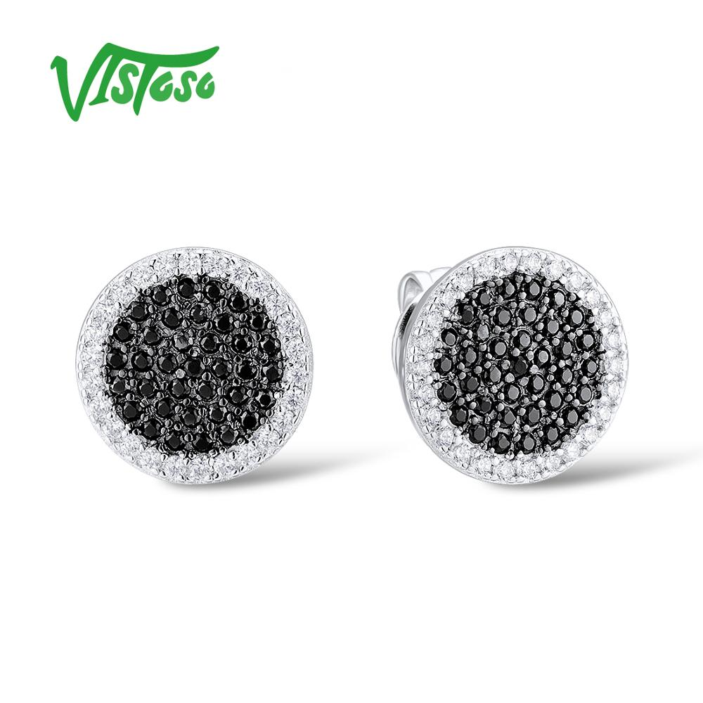 VISTOSO Sterling Silver Stud Earrings Fine Jewelry Black Spinel Round White Cubic Zircon Earrings 925 Sterling Silver For Women big j w punk earrings vintage white black zircon clear feather fine jewelry 925 silver jewelry wings stud earrings for women